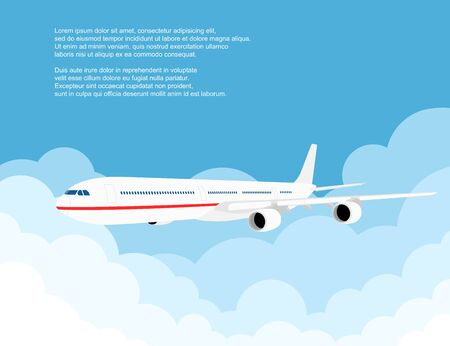 plane landing: picture of a civilian plane witn clouds flat style illustration