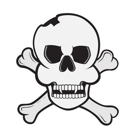 skull and crossed bones: imagen de un cr�neo con huesos cruzados Vectores