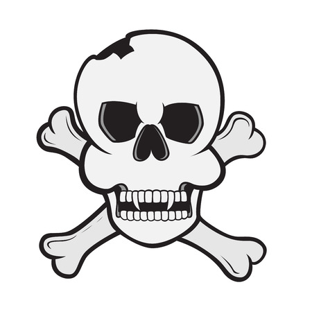 vector skull danger sign: picture of a skull with crossed bones Illustration