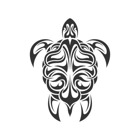 schildkroete: Bild von Schwarz-Weiß Meeresschildkröte in Tribal Style auf weißem backgroud isoliert Illustration