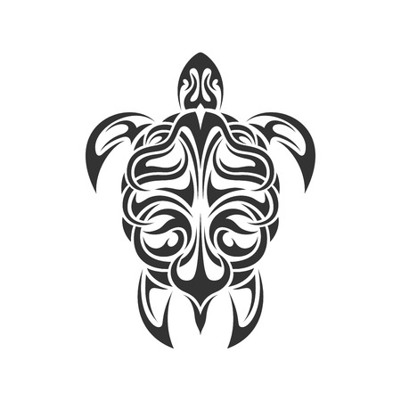 picture of black and white sea turtle in tribal style isolated on white backgroud Illustration
