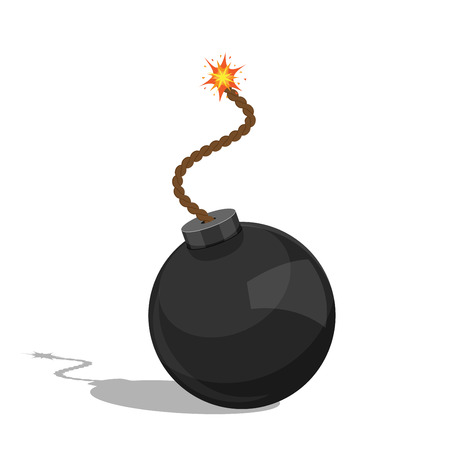 picture of a cartoon bomb isolated on white background, flat style illustration