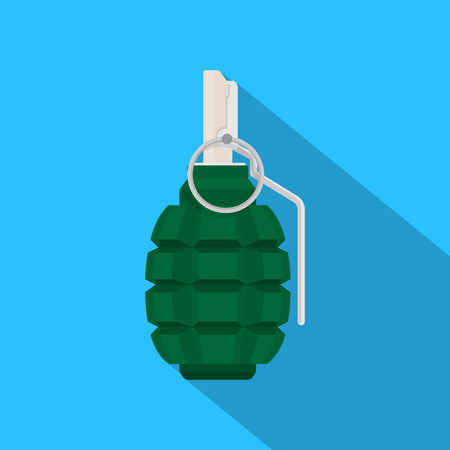 hand grenade: picture of green grenade on blue background, flat style illustration