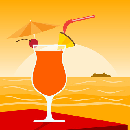 pina colada: picture of a cocktail standing on table in front of sunset on the beach