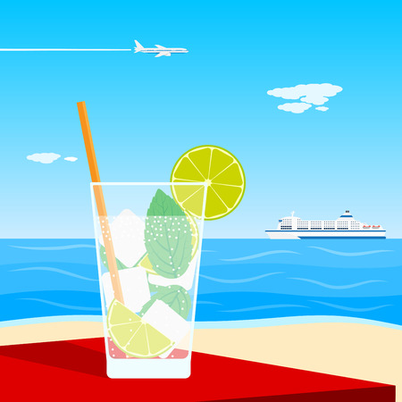 picture of a cocktail standing on table in front of seaside Illustration