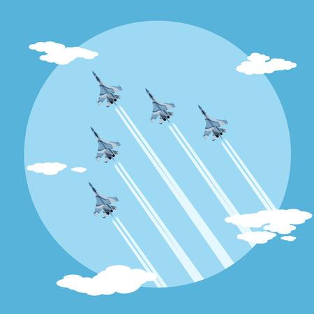 aereo: foto di cinque aerei da combattimento di volo per il combattimento, stile illustrazione piatta