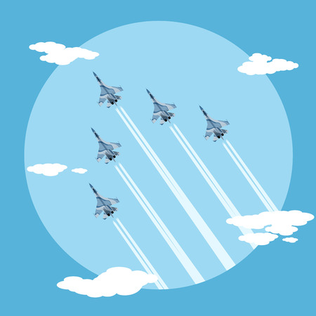 the air attack: picture of five fighter planes flying combat order, flat style illustration