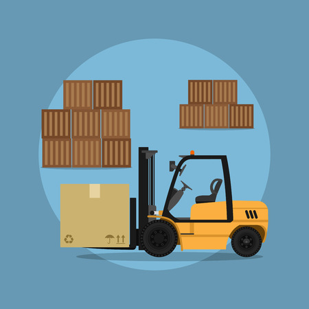 picture of a fork loader with commodity boxes, flat style illustration