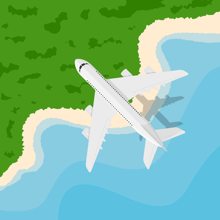 picture of a civilian plane flying above the seaside, flat style illustration, banner for business, webside etc., traveling, vacation, around the world concept
