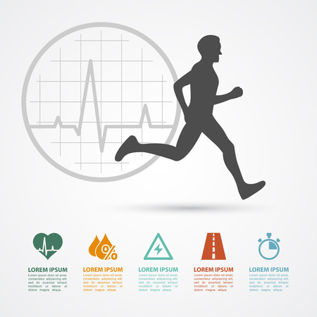 infographic template with running man silhouette and icons: heartbeat, water, energy, distance, time; healthcare, fitness, training concept