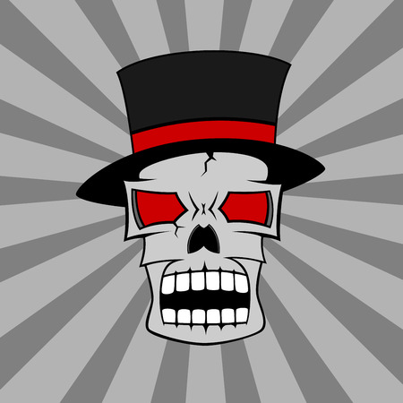 red eyes: picture of a skull in hat with red eyes