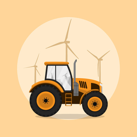 picture of a tractor with windmill silhouettes on background, flat style illustration Illustration