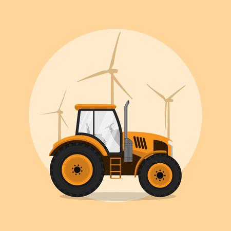 old tractor: foto van een tractor met molen silhouetten op de achtergrond, vlakke stijl illustratie