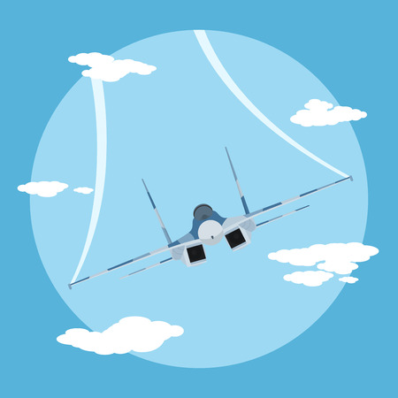 the air attack: picture of flying fighter plane, flat style illustration