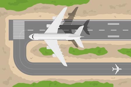 aereo: foto di un decollo fromm pista di atterraggio aereo civile, illustrazione stile piano