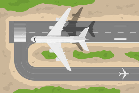 plane landing: picture of a civilian plane taking-off fromm landing strip, flat style illustration