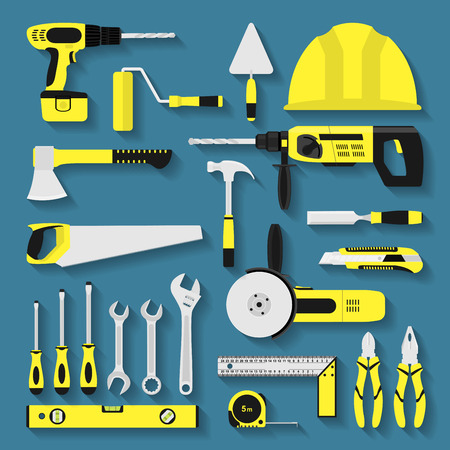 costruction: set of repair and costruction tool icons, flat style illustration