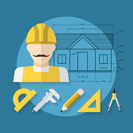 architect tools: picture of worker icon with architect tools icon on blue background, house construction, architect concept, flat style illustration