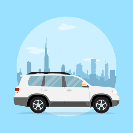 offroad car: picture of a jeep in front of a big city silhouette, flat style illustration