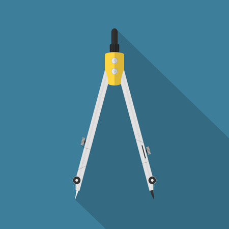 picture of a caliper on blue background with long shadow, flat style illusration