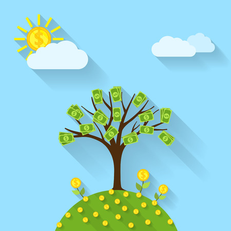 grow money: picture of a cartoon landscape with money tree, sun, flowers and skym flat style illustration