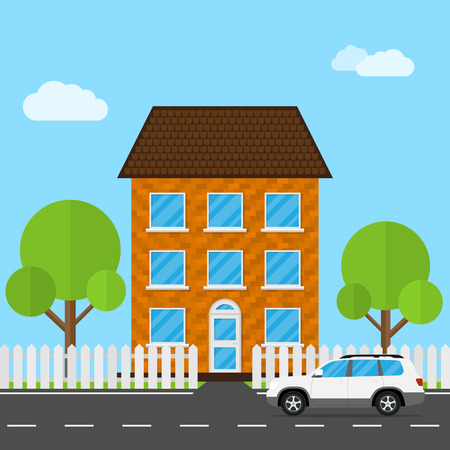 family outside house: Flat style illustration of landscape view with car, trees, fence and living house