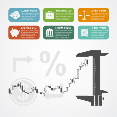 fonds: infographic template with caliper, candlestick graph and icons, trading, investent concept