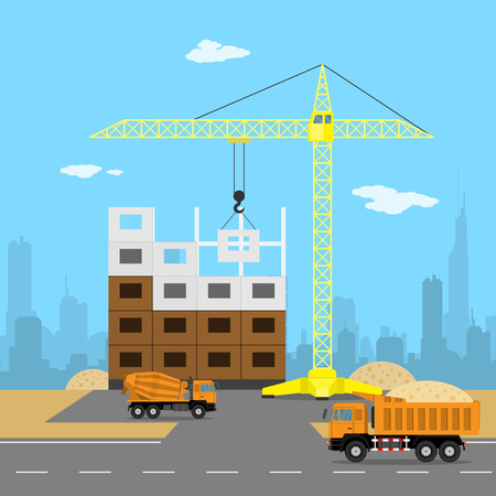 truck concrete mixer: picture of a house construction process, crane, dump truck, concrete mixer, sand, big city silhouette on background, flat style illustration