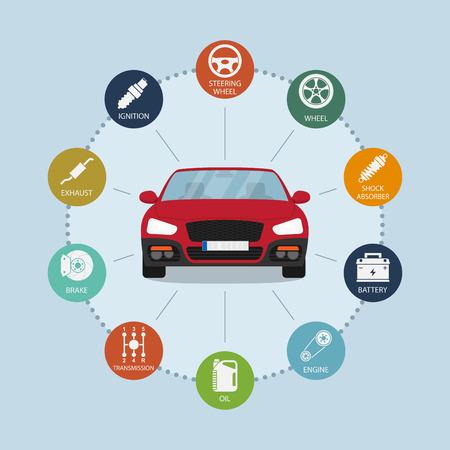자동차 및 자동차 부품 아이콘, 서비스 및 수리 개념 인포 그래픽 템플릿