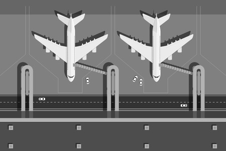 picture of airport terminal with two planes, top view, flat style illustration