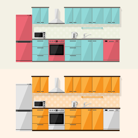 gas stove: Kitchen interior and house appliances: microwave, refrigerator, gas stove, dishwasher, cooker hood, flat style illustration