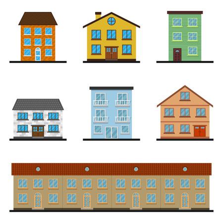 set of colorful house icons, flat style illustration Ilustração