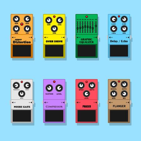 estudio de grabacion: conjunto de pedales de guitarra efectos: distorsión, sobremarcha, equlizer, retardo, ruido, compresor, phaser y flanger, ilustración estilo plano