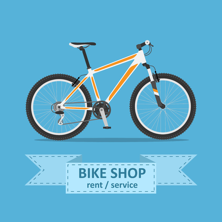 mtb: picture of a mountain bicycle , flat style illustration