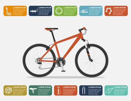infographic template with mountain bike and icons, flat style illustration Ilustração
