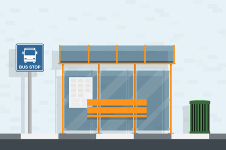 a sign: piture of bus stop, bus stop sign and trash can, flat style illustration