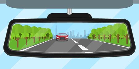imagen de un espejo retrovisor del coche refleja camino, otro coche, árboles y una gran silueta de la ciudad, ilustración estilo plano