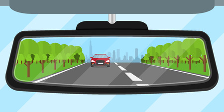 on mirrors: picture of a car rear view mirror reflected road, another car, trees and big city silhouette, flat style illustration Illustration