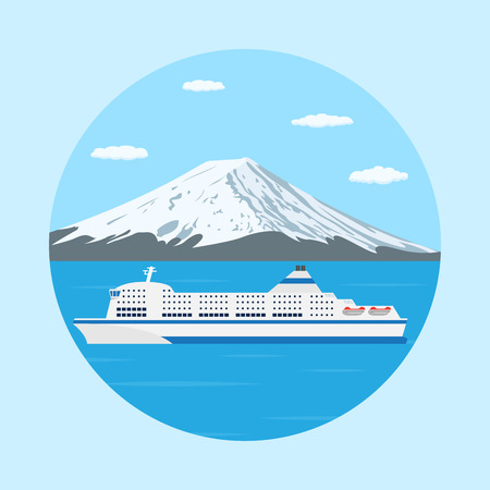 big boat: picture of a ferry boat in front of big mountain, flat style illustration