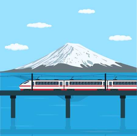 metro train: picture of a train moving on the bridge in front of big mountain, flat style illustration