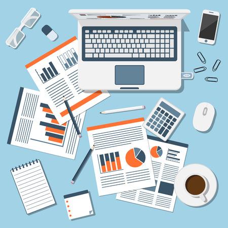 Finanzbericht, busiess informayion, flachen Stil Illustration, Web-Hintergrund Standard-Bild - 43557987