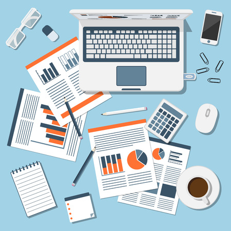 Sprawozdanie finansowe, busiess informayion, styl ilustracji płaski, tło www Ilustracje wektorowe