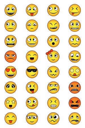 ojos llorando: conjunto de caras sonrientes con diferentes emociones