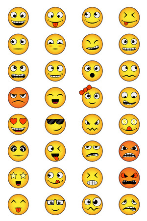 angry smiley face: set of smiley faces with different emotions
