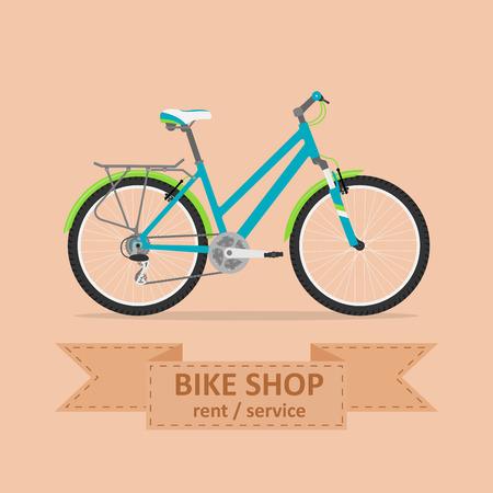 Bild von einem Komfort Fahrrad, flachen Stil Illustration Standard-Bild - 43557990