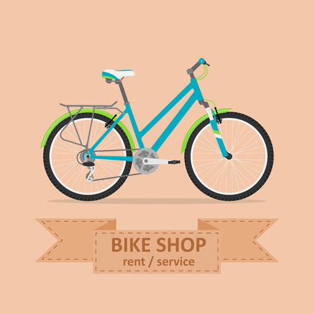 bicycle gear: picture of a comfort bicycle, flat style illustration