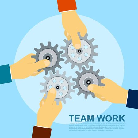 team hands: picture of four hands holding gears, flat style illustration concept for team work concept Illustration