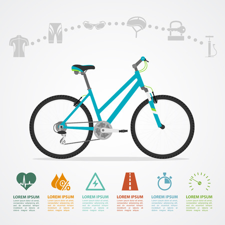infographic template with bicycle and icons, flat style illustration Иллюстрация