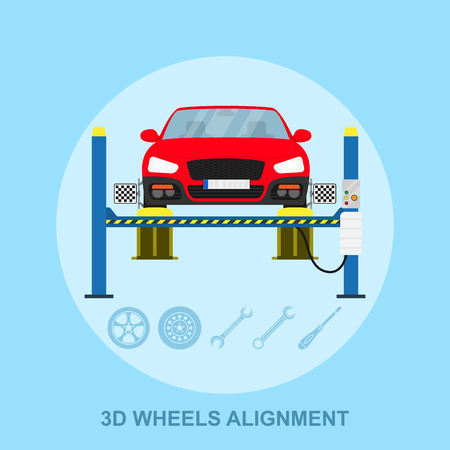 picture of a car with computerized alignment device at wheel, alignment service station, flat style illustration