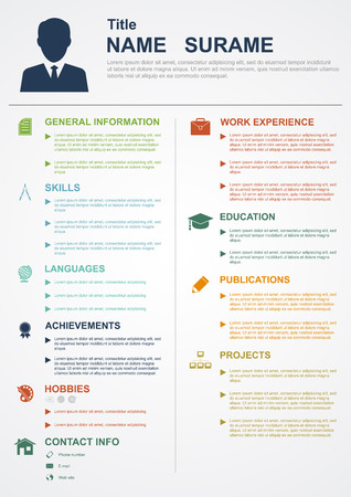 curriculum: infographic template with icons for cv, personal profile, resume organisation